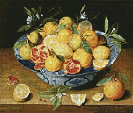 cross stitch pattern Still Life Lemons,Oranges  Pomegranate