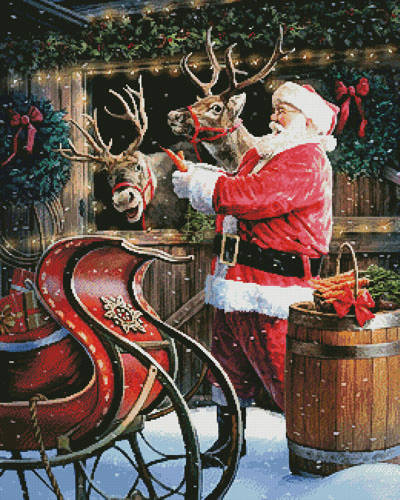 cross stitch pattern Santa Feeding the Reindeer