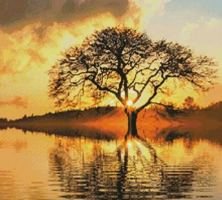 cross stitch pattern Sunny Tree