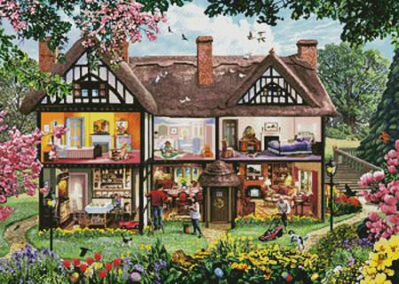 cross stitch pattern Spring House