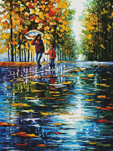 cross stitch pattern Stroll in Autumn Park