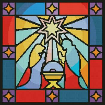 cross stitch pattern Stained Glass Nativity