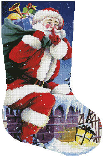 cross stitch pattern Santa's Here Stocking (Right)