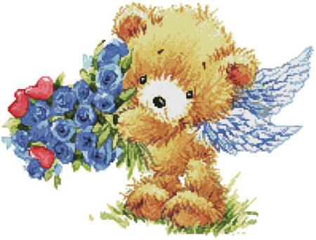 cross stitch pattern Teddy Angel (Blue Flowers)