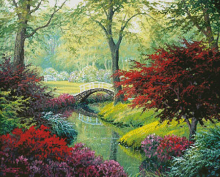 cross stitch pattern The Garden Bridge