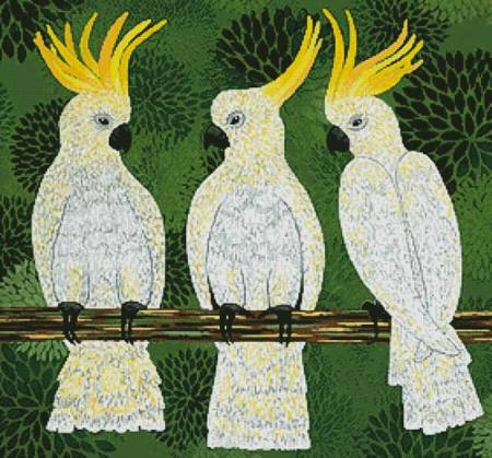 cross stitch pattern Three Cockatoos