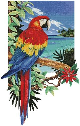 cross stitch pattern Tropical Scarlet Macaw