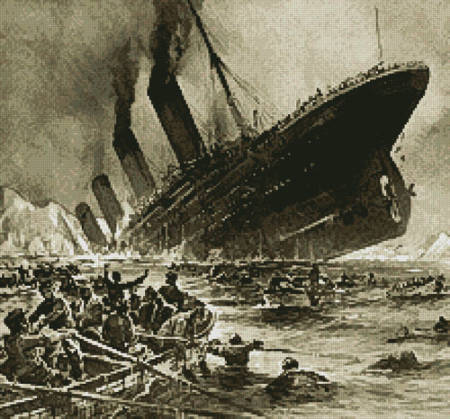 cross stitch pattern Titanic Sinking (Crop)