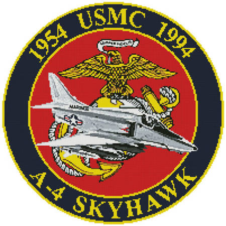 cross stitch pattern USMC A-4 Skyhawk Emblem