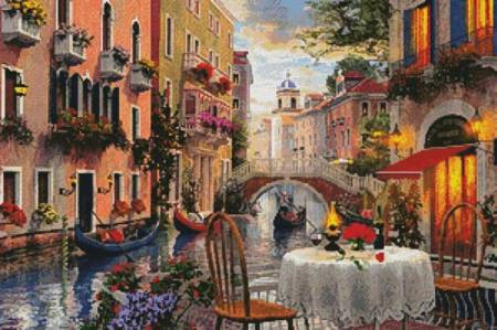 cross stitch pattern Venice Al Fresco