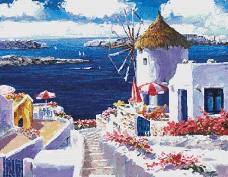 cross stitch pattern Windmill at Santorini