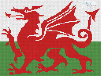 cross stitch pattern Welsh Flag