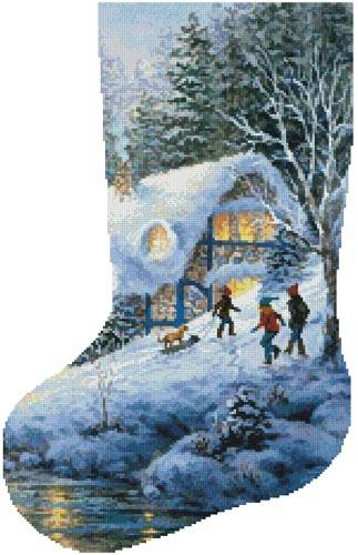 cross stitch pattern Winter Frolic Stocking (Left)