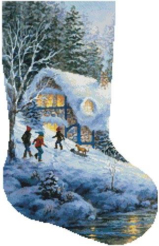 cross stitch pattern Winter Frolic Stocking (Right)
