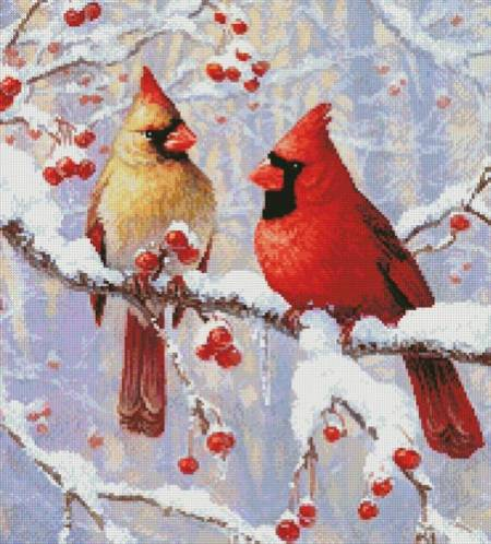 cross stitch pattern Winter Joy Cardinals (Crop)