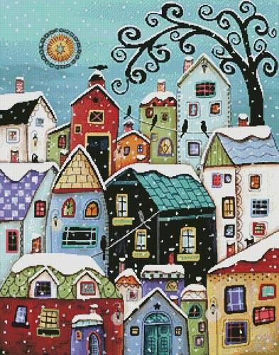 cross stitch pattern Winter City