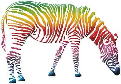 cross stitch pattern Zebra with Colourful Stripes