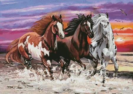 cross stitch pattern Three Horses at Sunset