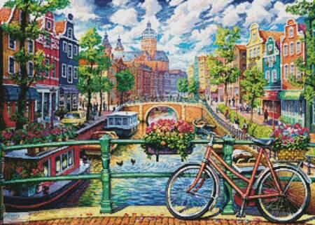 cross stitch pattern Amsterdam Canal