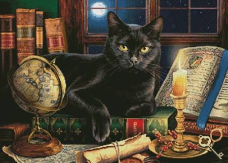 cross stitch pattern Black Cat by Candlelight