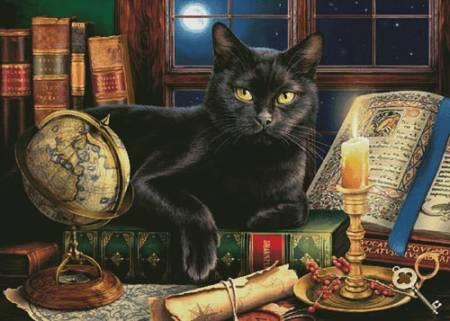 cross stitch pattern Black Cat by Candlelight (Large)
