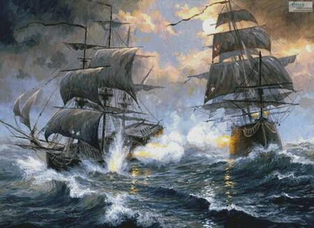 cross stitch pattern Battle on the High Seas (Large)