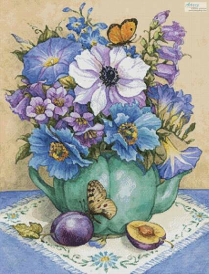 cross stitch pattern Blue Violet Flowers