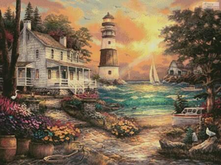 cross stitch pattern Cottage by the Sea