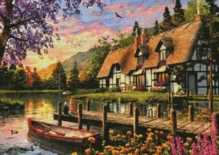 cross stitch pattern Cottage Evening Sunset