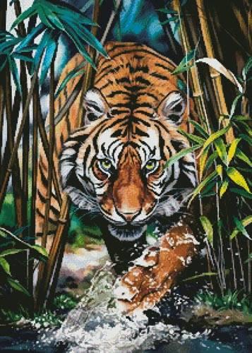 cross stitch pattern Dangerous Tiger