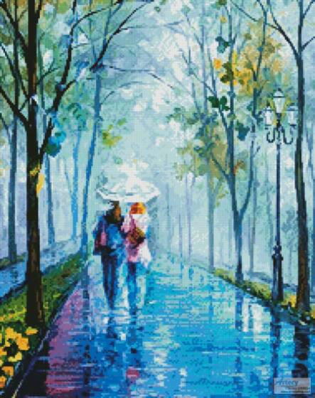 cross stitch pattern Foggy Stroll (Crop)