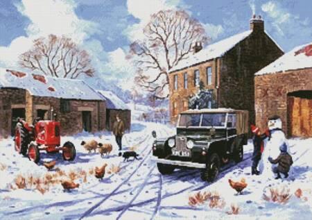 cross stitch pattern Farm in Winter