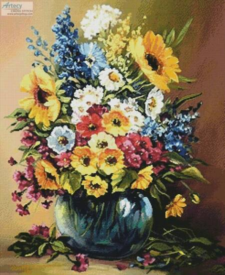cross stitch pattern Flowers Painted with Summer