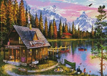 cross stitch pattern The Fishing Hut