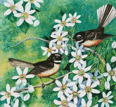 cross stitch pattern Fantails and Clematis