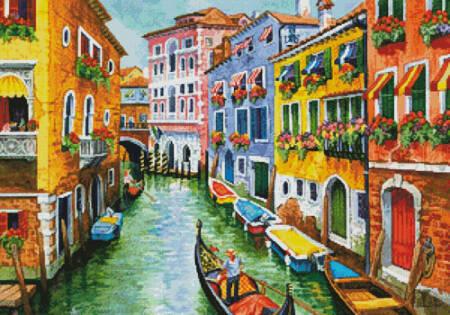 cross stitch pattern Gondola Ride in Venice