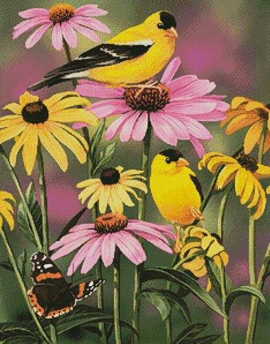 cross stitch pattern Golden Finches