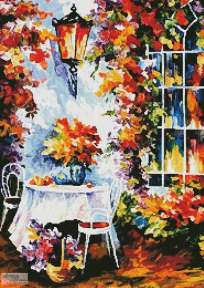 cross stitch pattern In the Garden Painting (Crop)