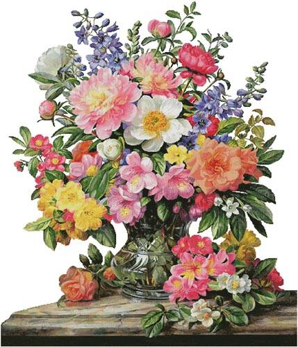 cross stitch pattern June Flowers in Radiance (Large) No Back