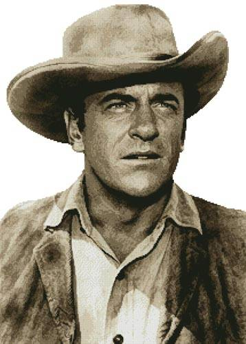 cross stitch pattern James Arness (Sepia)