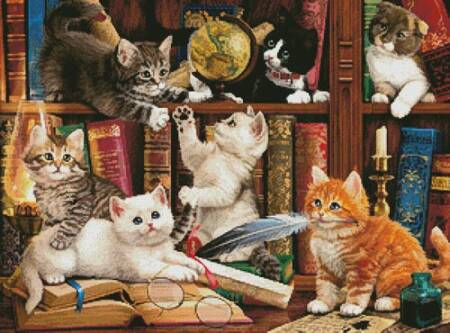 cross stitch pattern Kittens in the Library
