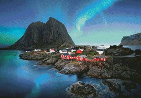 cross stitch pattern Lofoten Norway