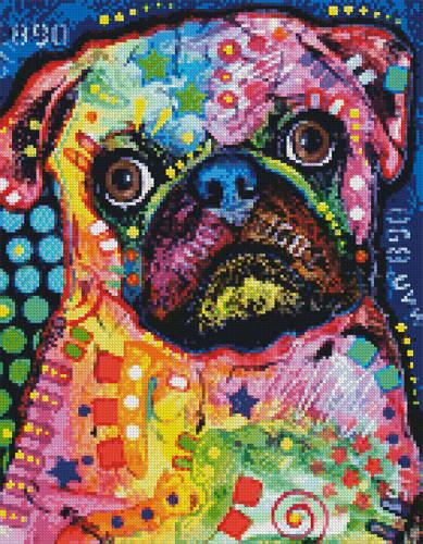 cross stitch pattern Mini Abstract Pug