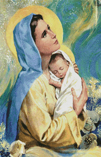 cross stitch pattern Mary and Baby Jesus (Large)