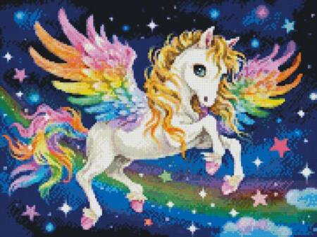 cross stitch pattern Mini Cute Rainbow Pegasus