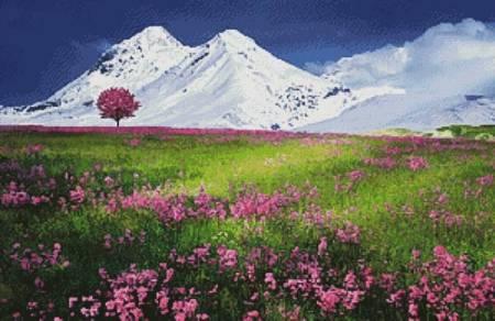 cross stitch pattern Meadow in the Alps