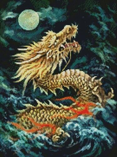 cross stitch pattern Mini Dragon in the Moonlight