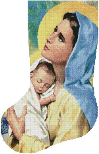 cross stitch pattern Mary and Baby Jesus Stocking (Left)