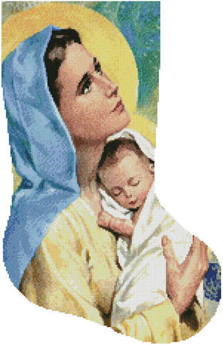 cross stitch pattern Mary and Baby Jesus Stocking (Right)