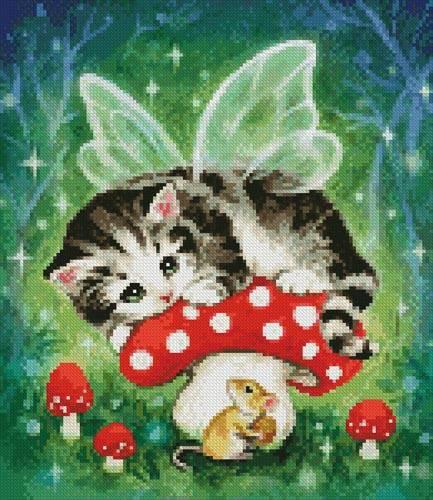 cross stitch pattern Mini Kitten Fairy on Mushroom